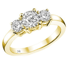 1.60CT Women Stylish 14K YG Round Three Stone Moissanite Basket Engagement Ring - $861.30