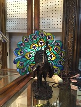 New Peacock Lamp Stained Leaded Glass Shade Tiffany Style Light Accent Lighting
