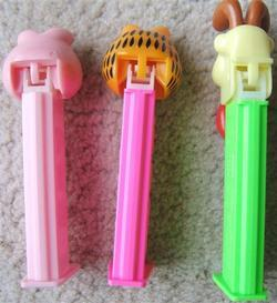 GARFIELD ODIE ARLENE THREE EMPTY PEZ DISPENSERS 1978 PAWS 1984 UFS