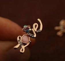 """Gold """"LOVE"""" Shaped Women's Pink Opal Earrings - $11.99"""