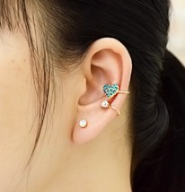 18K RGP Rhinestone Heat Ear Cuff for Women(Green) - $11.99