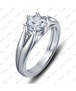 White Cz Round Cut White Gold Fn. Six Prong Setting Solitaire Engagement... - $48.56