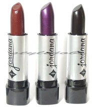 3 Pcs Jordana Lipstick Black, Dark Purple, Burgandy - $4.19