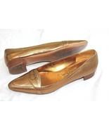 SALVATORE FERRAGAMO Bronze Alissa 2cm Bronzo Nappa Kid Low Flat Shoes Si... - $79.20