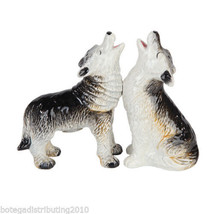 Ceramic Howling Wolves Salt and Pepper Shaker  Animals Magnetic S&P Wild... - $12.99