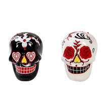 Dia De Los Muertos White Black Skulls Salt & Pepper Shakers Day Of The D... - $14.84