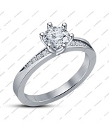 14K White Gold Fn. 925 Sterling Silver Round White Cz Six Prong Engageme... - $50.56