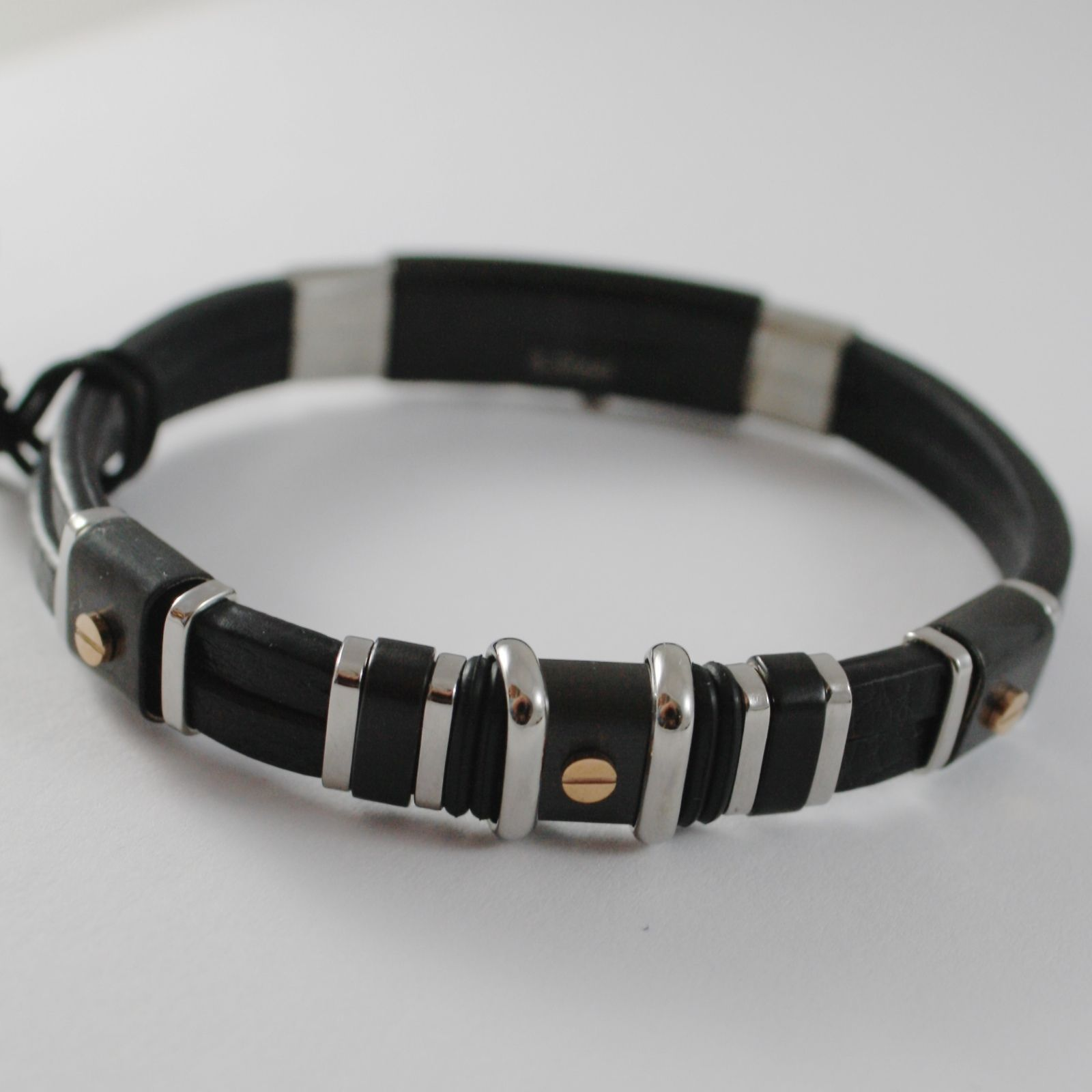 STAINLESS BLACK WHITE & ROSE STEEL BRACELET AND LEATHER, 4US BY CESARE PACIOTTI