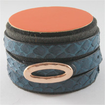 Edgy Blue Python Leather Bracelet With 925 Silver Hammered Oval Rose Gold Plated - $65.30