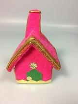 Vintage Flocked Christmas ornament church house MCM Christmas collectible - $16.70