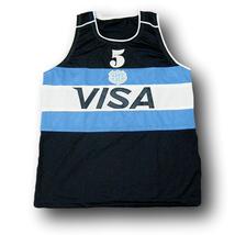Manu Ginobili #5 Visa Team Argentina Basketball Jersey Navy Blue Any Size image 4