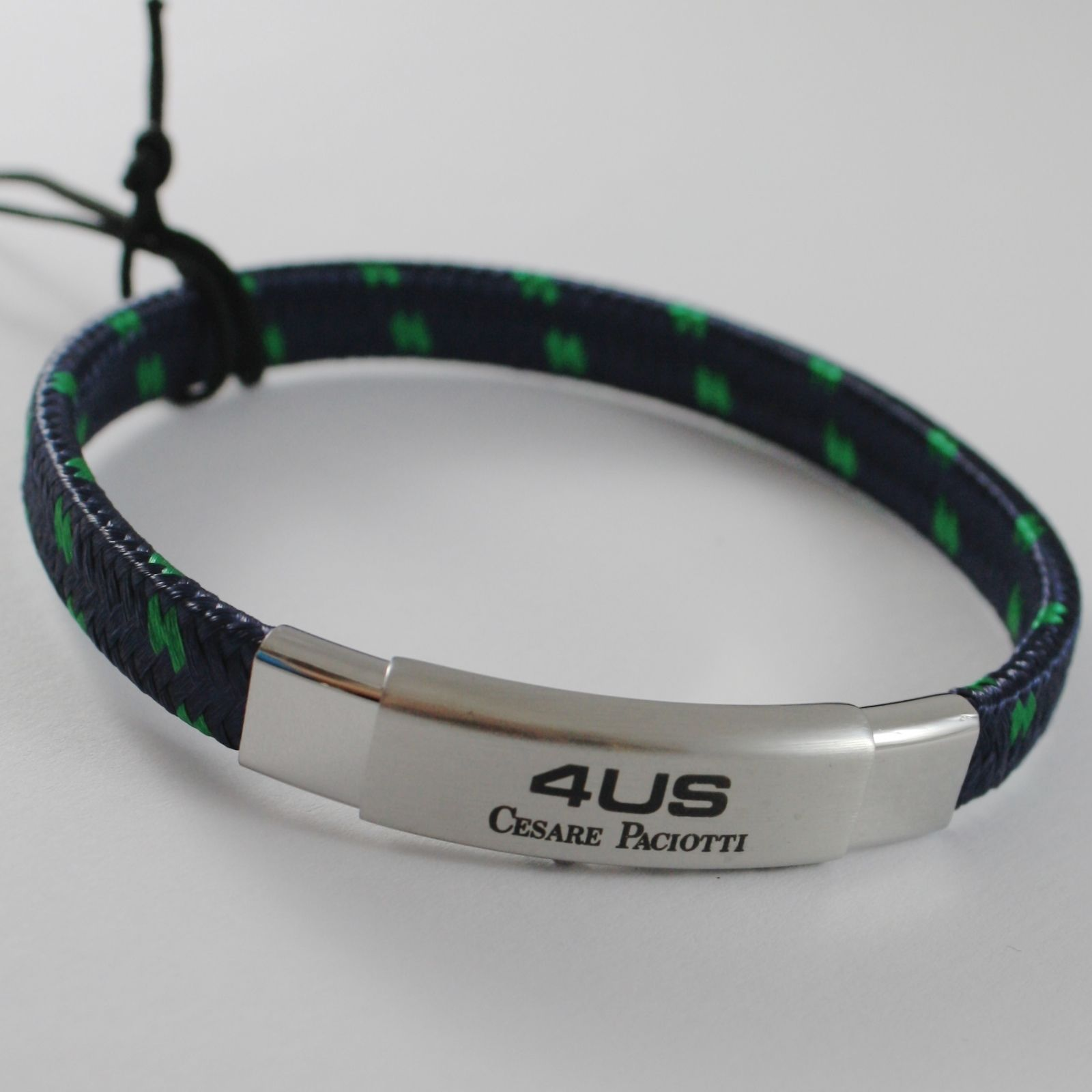 STAINLESS STEEL BRACELET BLUE AND GREEN WOVEN FABRIC, 4US BY CESARE PACIOTTI