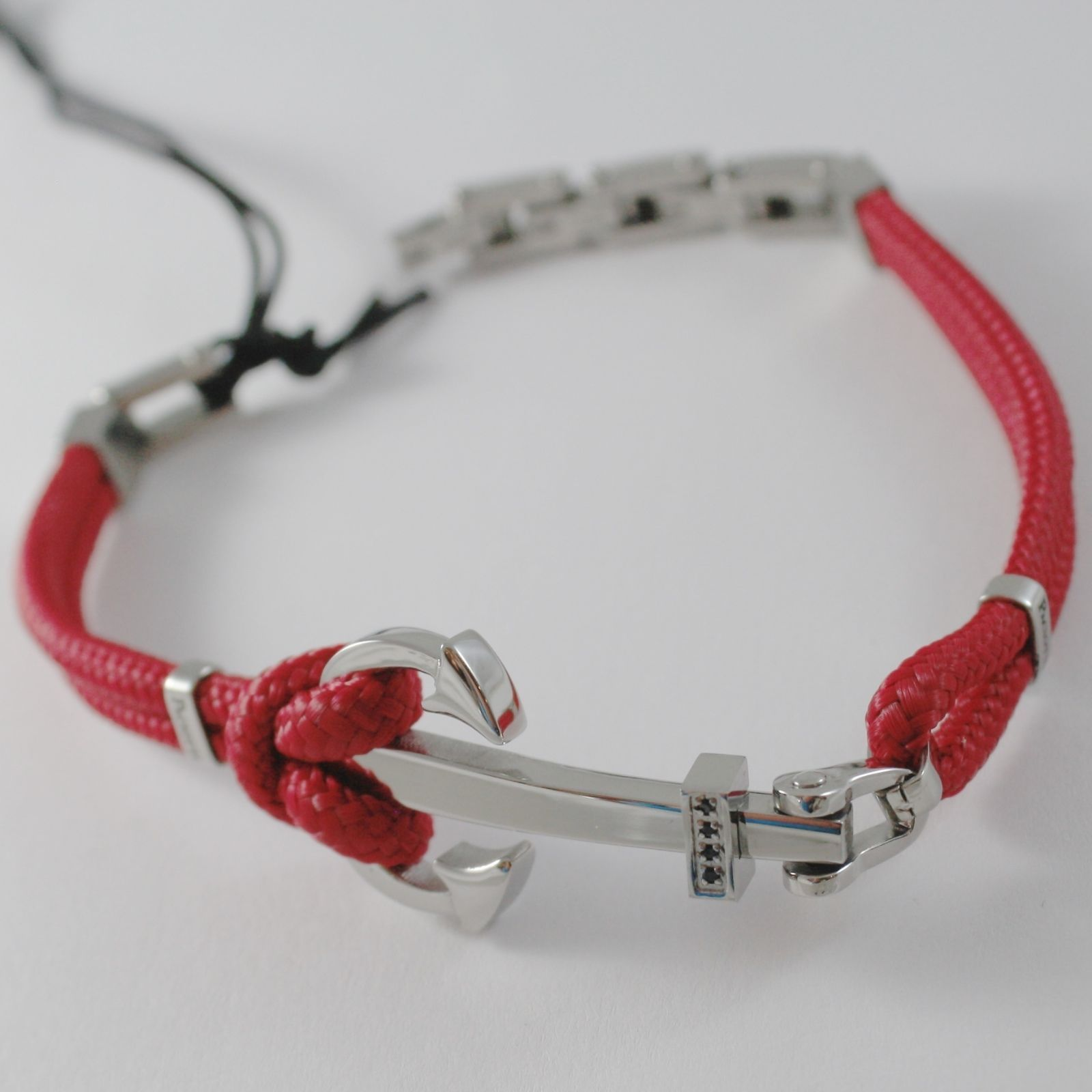 STAINLESS STEEL BIG ANCHOR BRACELET RED NAUTICAL ROPE, 4US BY CESARE PACIOTTI