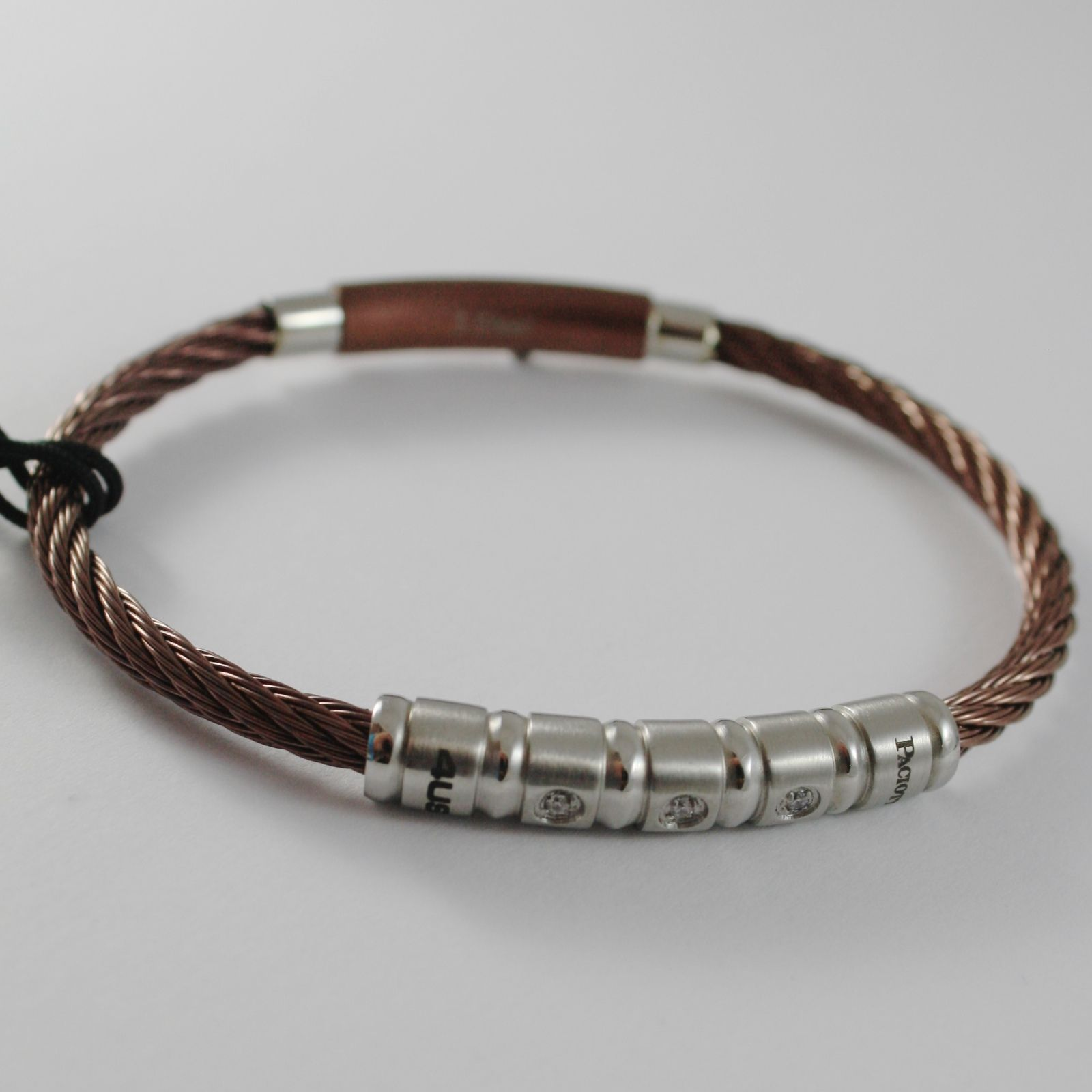 STAINLESS BROWN STEEL WIRE CABLE RIGID ZIRCONIA BRACELET 4US BY CESARE PACIOTTI