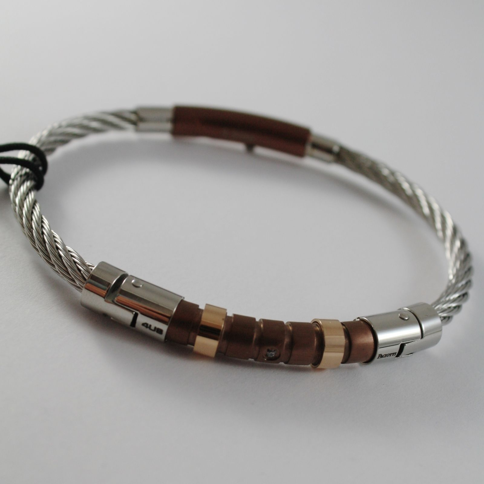 STAINLESS BROWN & ROSE STEEL WIRE CABLE RIGID BRACELET, 4US BY CESARE PACIOTTI