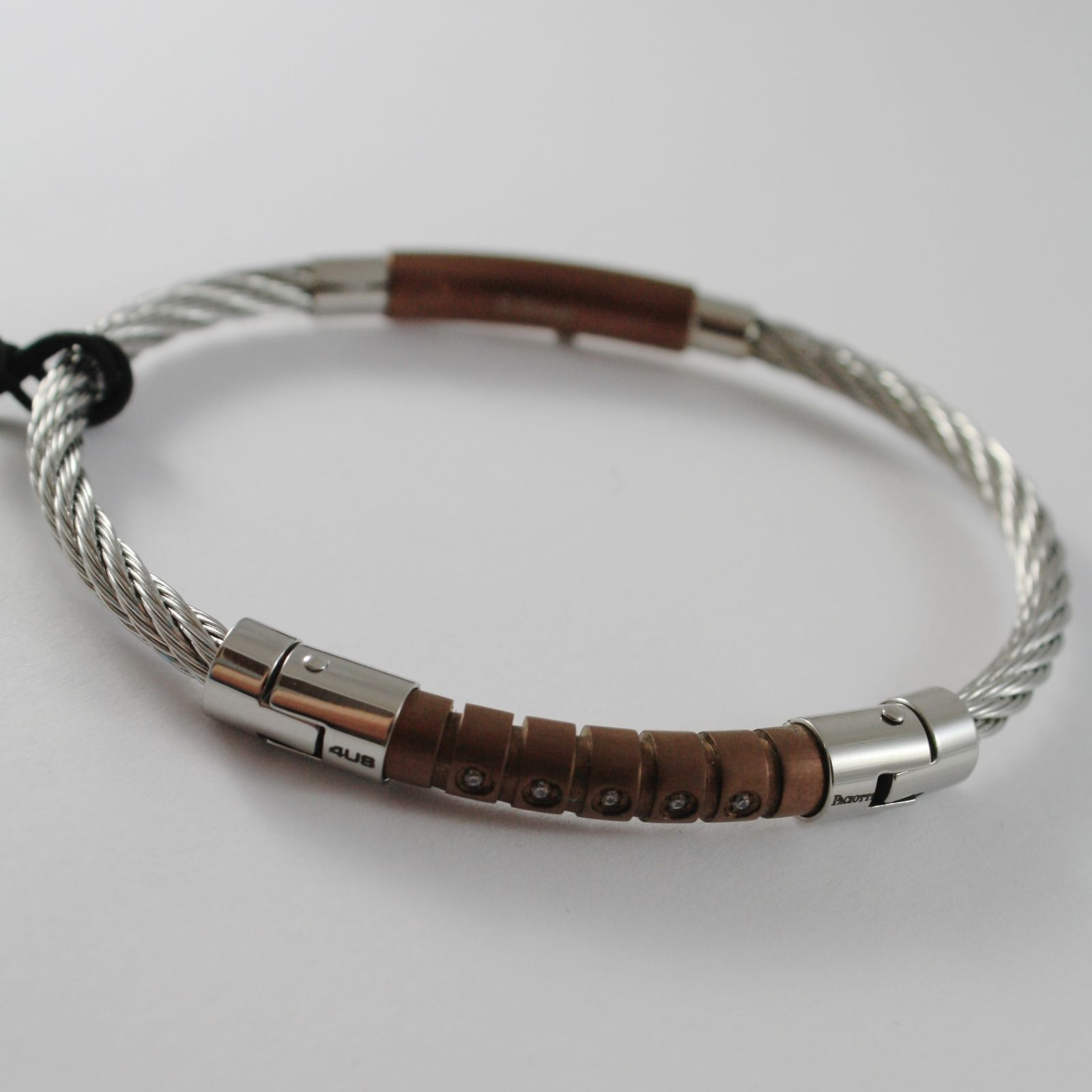 STAINLESS BROWN STEEL WIRE CABLE RIGID BANGLE ZIRCONIA BRACELET, CESARE PACIOTTI