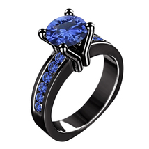 Black Gold Plated 925 Silver Blue Sapphire Solitaire W/ Accents Engagement Ring - $87.99