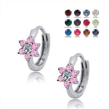 Children's 12 Month Birthstones Flower Huggie Earrings 14K Solid White Gold - $89.68