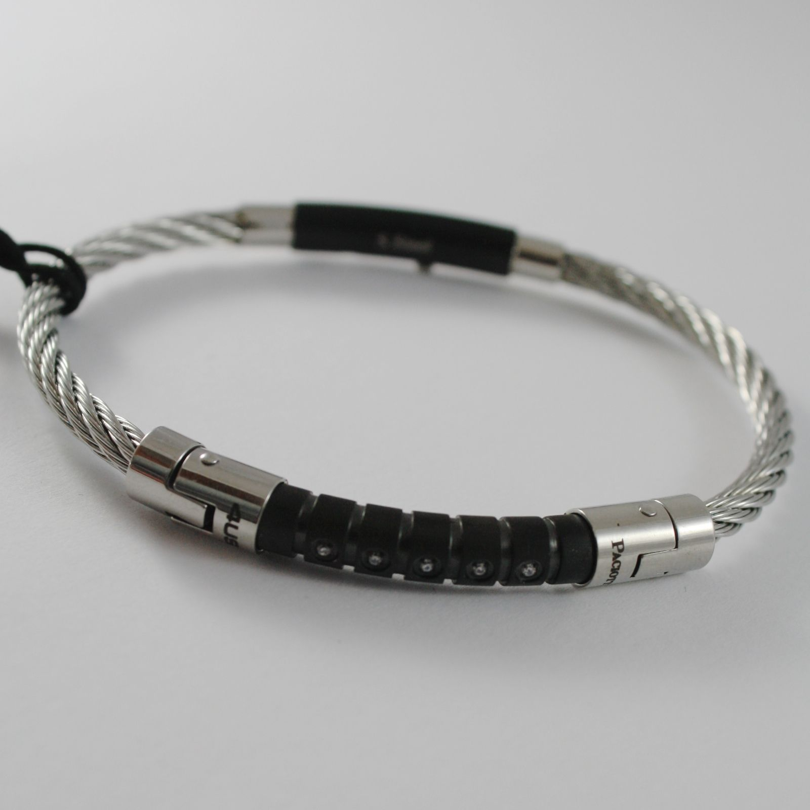 STAINLESS BLACK STEEL WIRE CABLE RIGID BANGLE ZIRCONIA BRACELET, CESARE PACIOTTI