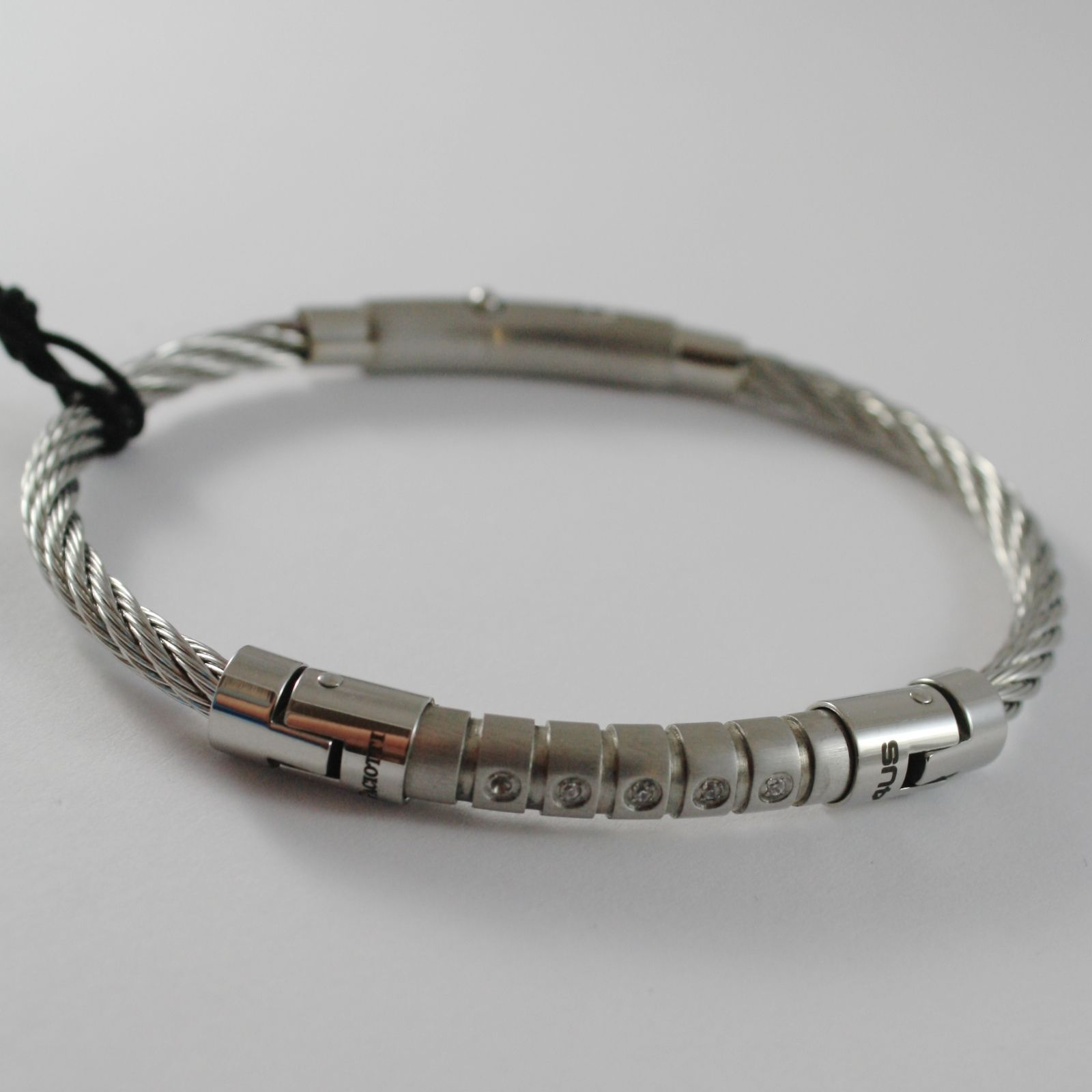 STAINLESS STEEL WIRE CABLE RIGID BANGLE ZIRCONIA BRACELET 4US BY CESARE PACIOTTI