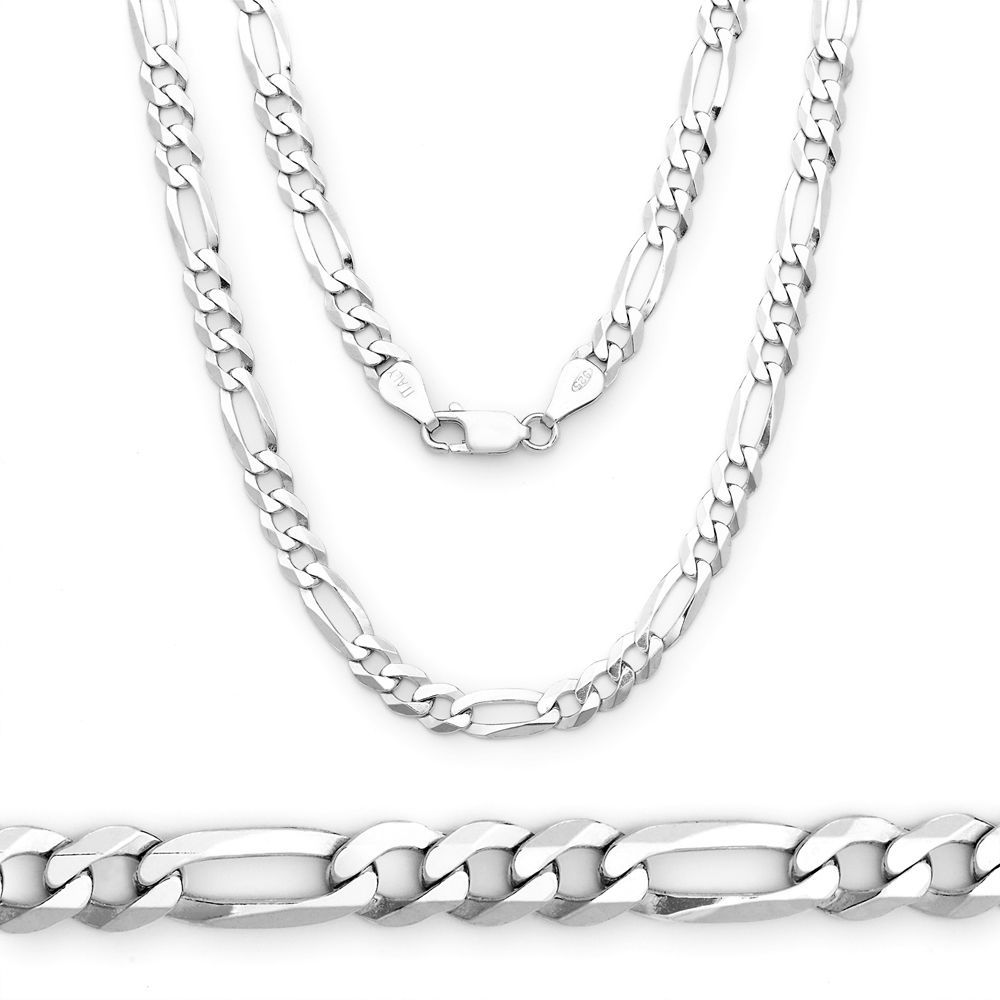 Men/Women's Italy Solid 925 Silver Figaro Link Italian Chain Necklace 3.7mm