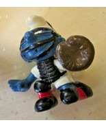 Vintage SMURFS Smurf Baseball player Catcher mini PVC Figure toy - $9.99