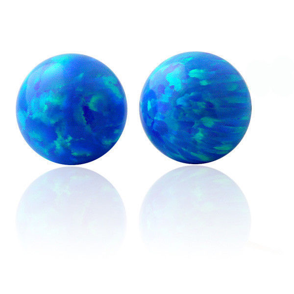 Unique Solid 14K Gold Round Ball Fiery Light Blue Opal Screw Back Stud Earrings