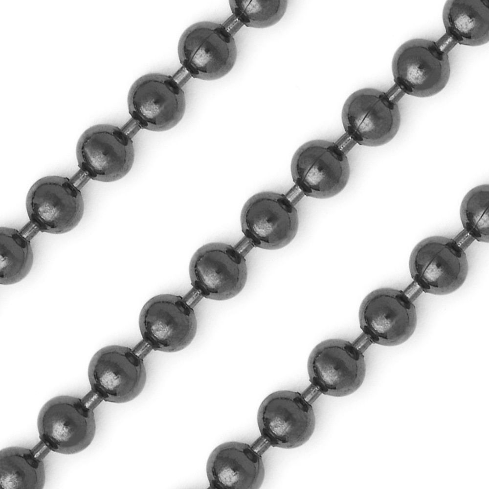 Stylish Italy 3mm 925 Silver 14k Black Gold Ball Bead Beaded Chain Necklace