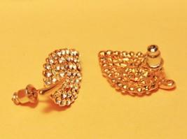 Golden Leaf Full Rhinestone Stud Earrings - $10.99