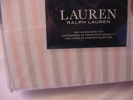 Ralph Lauren Pink and Beige fuzzy Edge Stripes on White Sheet Set Queen - $110.00