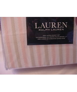 Ralph Lauren Pink and Beige fuzzy Edge Stripes on White Sheet Set Queen - $110.00