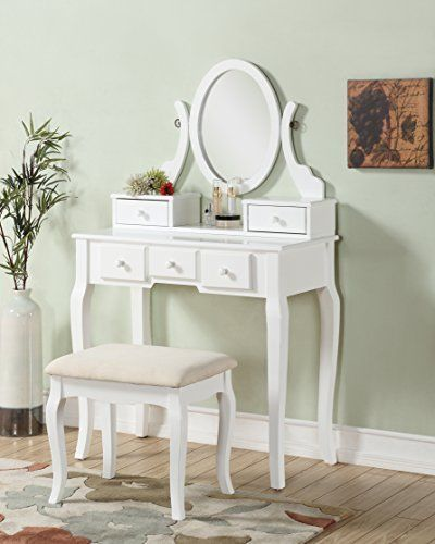 Wood Make-Up Vintage Vanity Table and Stool Set Makeup Organizer White