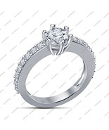 14k White Gold Fn. 925 Silver Solitaire With Accents Six-Prong Engagemen... - $50.56