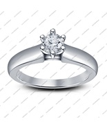 Six-Prong 14K White Fn. 925 Silver Round Cut White Cz Solitaire Engageme... - $49.56
