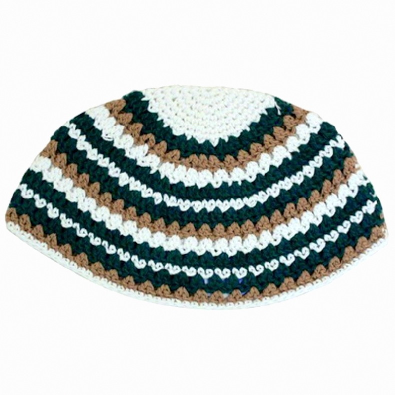 Frik Kippah Scull Cap Yarmulke Yamaka Crochet Colorful Striped Israel 26 cm
