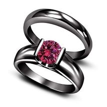 Black Rhodium Plated 925 Sterling Silver Pink Sapphire Bridal Solitaire Ring Set - $90.29