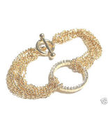 Multichain Crystal Pave Eternity Ring Gold EP Bracelet BR6 - $9.99