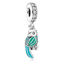 925 Sterling Silver Tropical Parrot Dangle Charm Bead For European Brace... - $20.68