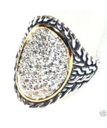 WR101 Sz 6 -  Celebrity Style Sterling Silver CZ Paved Twisted Cable Chu... - $34.99