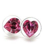 8mm Pink SWAROVSKI Crystal HEART Stud Post Earrings EA62 - $9.99