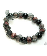 Black ribbon wrapped glass pearl stretch bracelet BR17 - $4.99