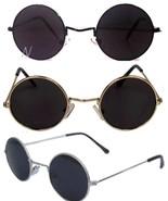 John Lennon Sunglasses Round  Shades Retro Black or Silver Frame Smoked ... - $8.99