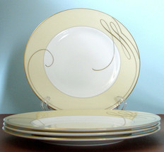 "Waterford Ballet Ribbon Gold Accent Plate SET/4 Champagne 9"" England New... - $128.90"