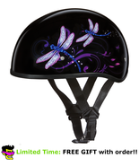 Daytona Black Dragonfly Skull Cap DOT Slim Motorbike Motorcycle Helmet 2XS - 2XL - $77.36