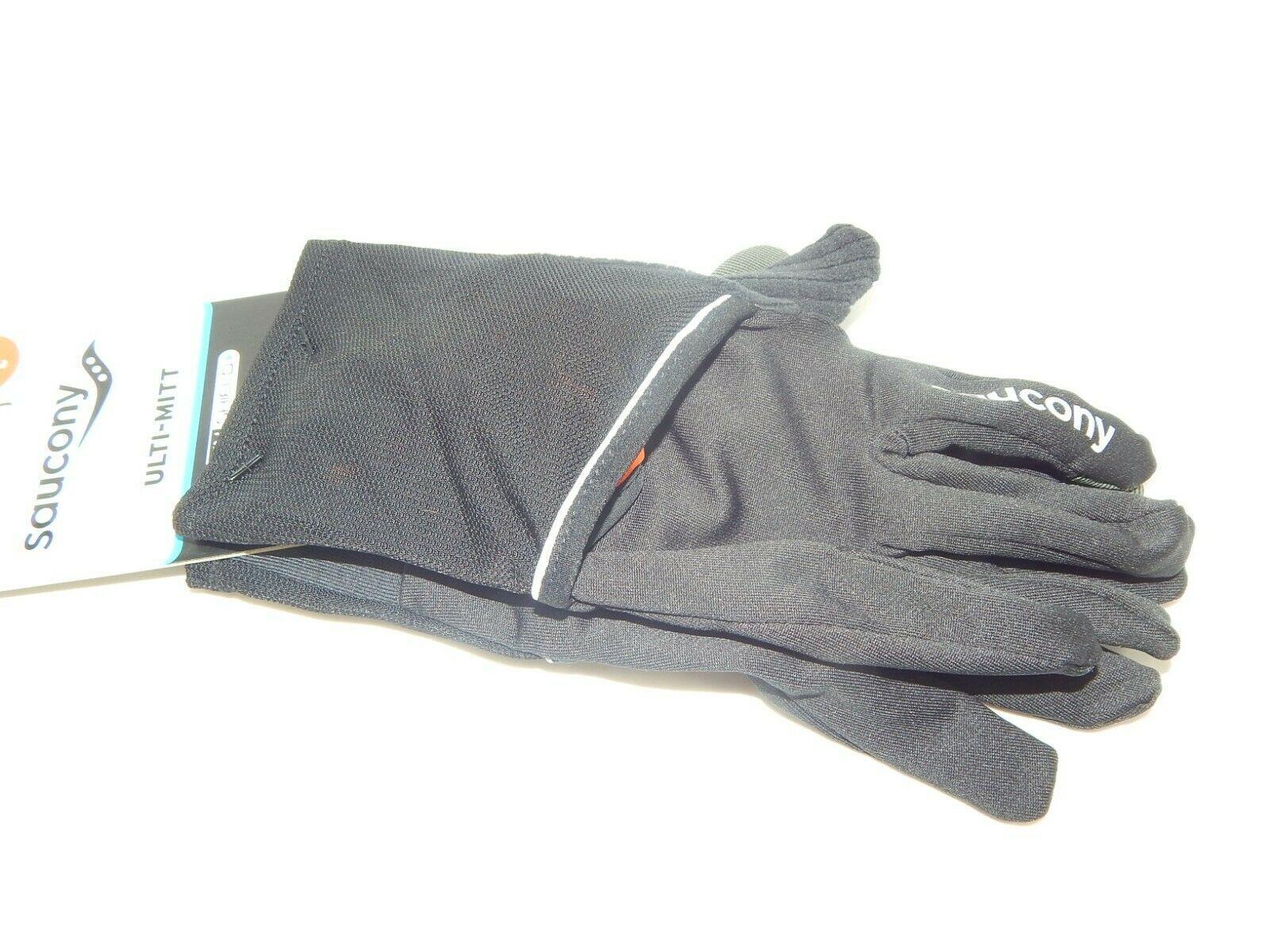 Saucony Ulti-Mitt Size L Large Convertible Pocket Thermal Running Gloves Orange