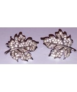Crown Trifari Vintage Clip On Earring Set Pave Rhinestone Silver Tone Ma... - $32.72