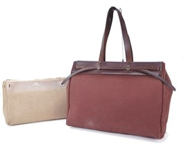 Auth HERMES Her Bag Cabas GM 2 in 1 Brown Beige Canvas Tote Bag Purse #29606A - $349.00