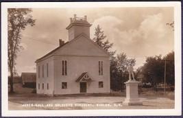 Marlow NH 1930s RPPC Jones Hall & Soldiers Monument Postcard - $14.75