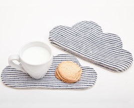 Striped Drink Coasters Barware  Fabric coasters Grandma Gift Cloud Drink... - $17.00