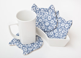 Blue Coasters Barware Fabric coasters Animal Coasters Grandma Gift - $17.00